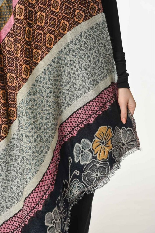 Floral Textured Thick Shawl (Mix)