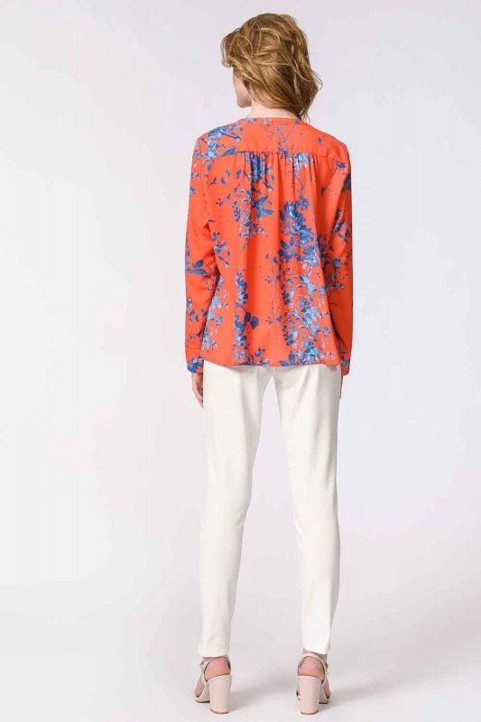 Flower Patterned Frilly Blouse (Orange-Red)