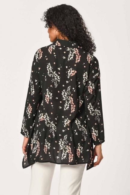Çiçek Desenli Gömlek Bluz (Siyah) - Thumbnail