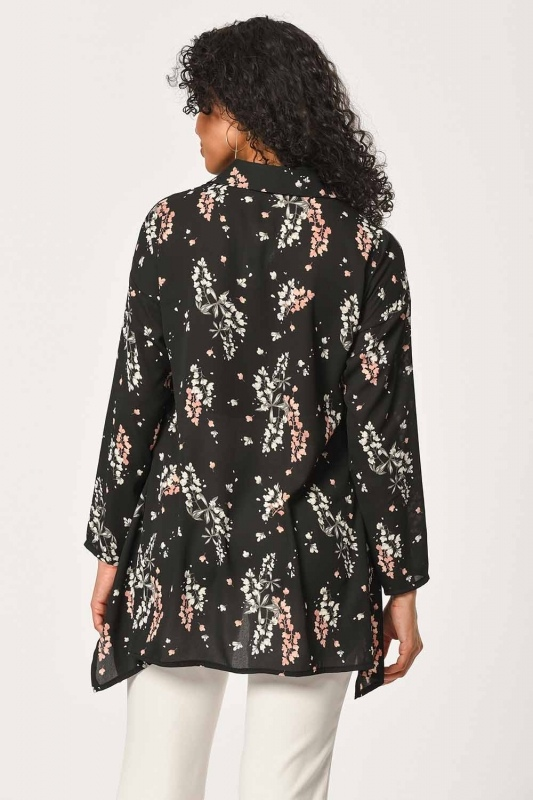 Floral Patterned Shirt Blouse (Black)
