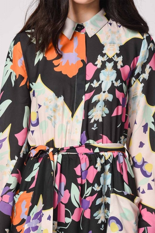 Floral Patterned Shirt Collar Dress (Mix)