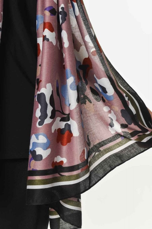 Thin Luxury Shawl With Floral Pattern (Powder)