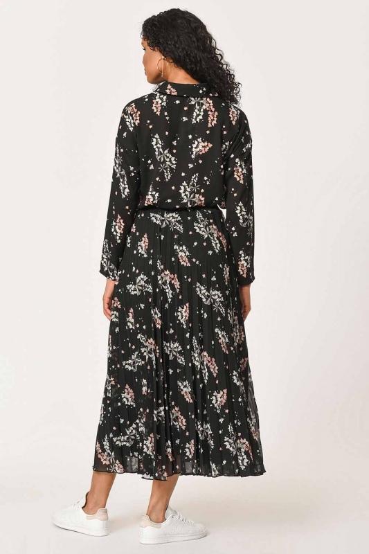 تنورة مطوي مع أنماط زهرة (أسود)