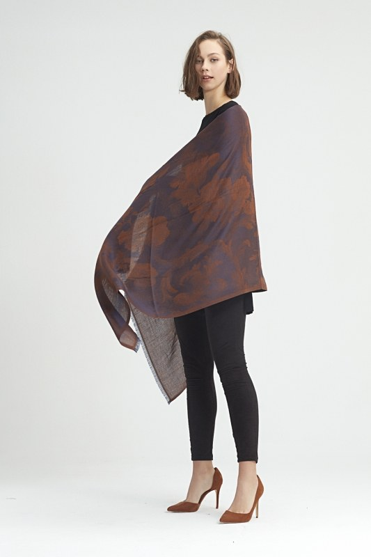 Flower Patterned Shawl (Brown)