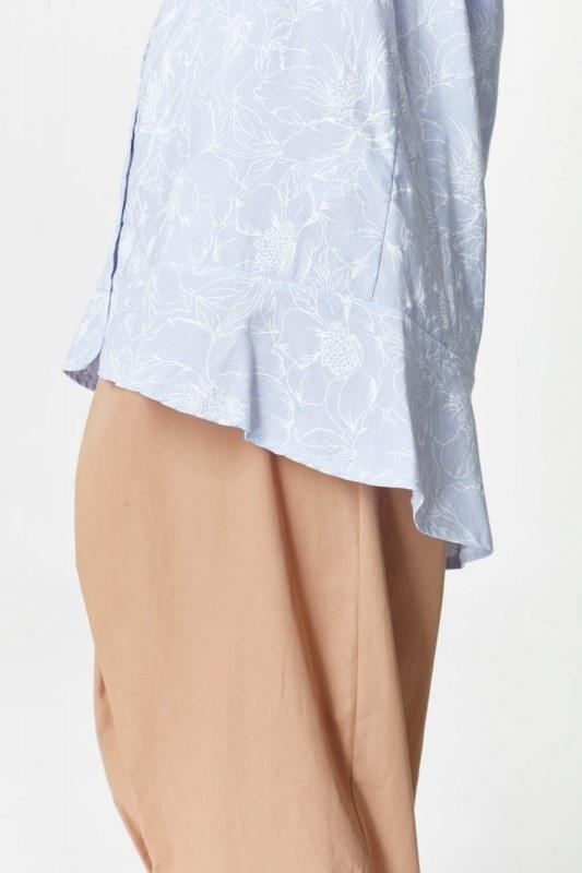 Çiçek Desenli Tunik Gömlek (Mavi)