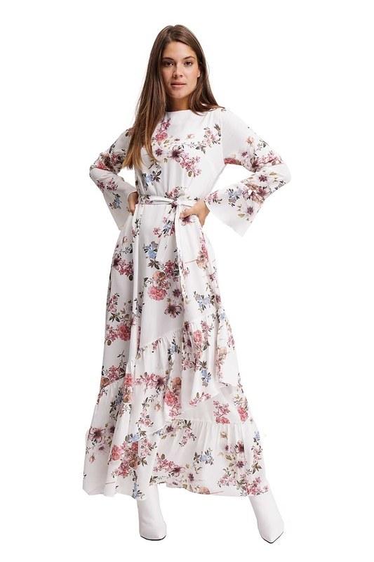 Çiçek Desenli Uzun Elbise (Ekru)