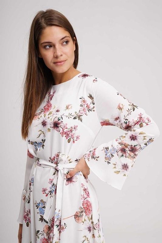 Flower Patterned Long Dress (Ecru)