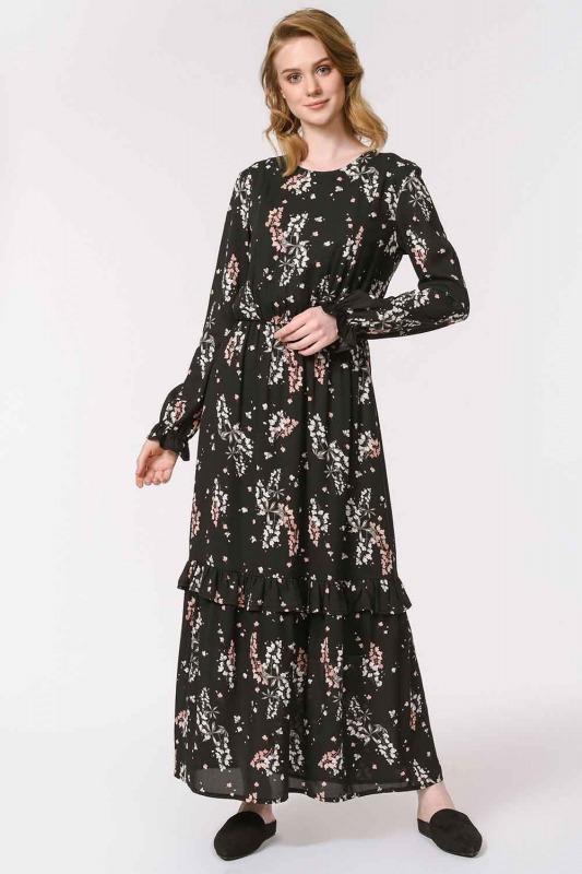 فستان طويل بنقشة الأزهار (أسود)