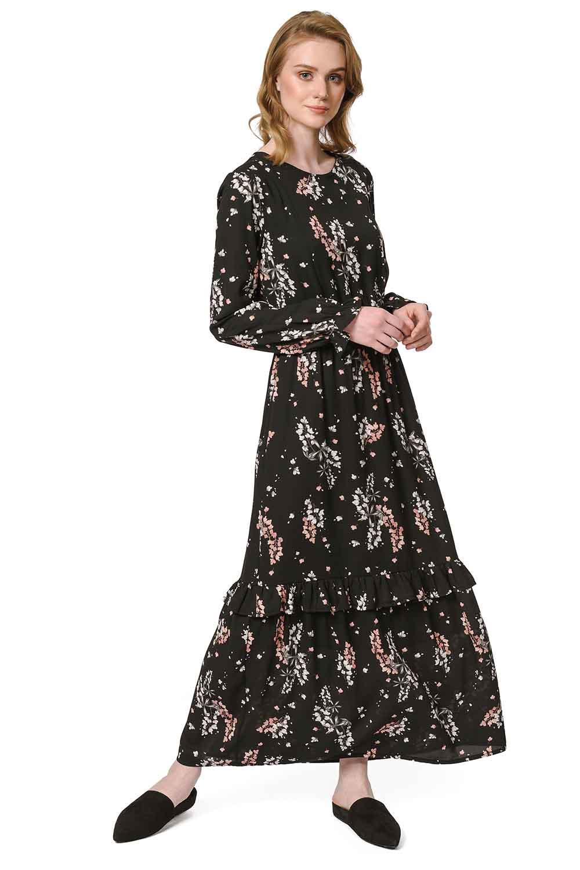 014c96efe80b5 Çiçek Desenli Uzun Elbise (Siyah) I Mizalle