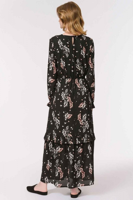 Floral Patterned Long Dress (Black)