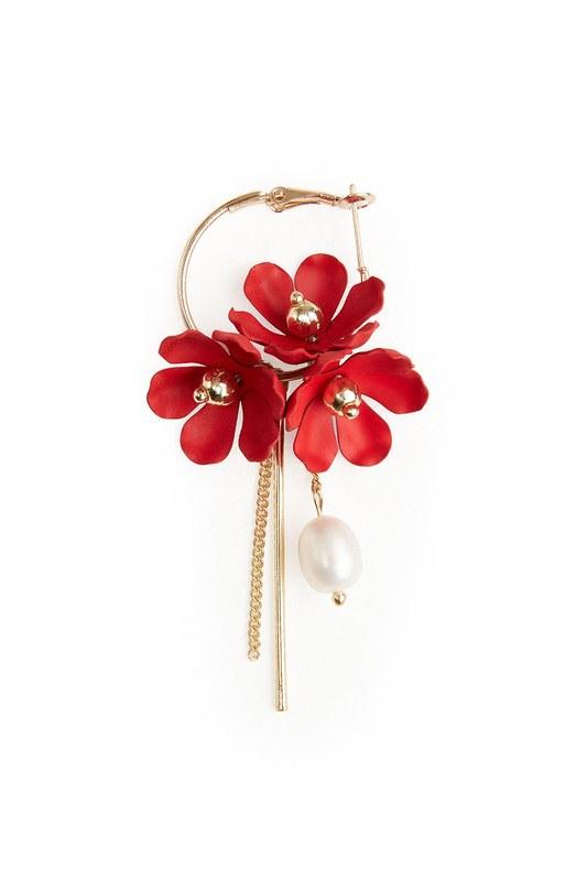 Çiçek Detaylı Halka Küpe (Kırmızı)