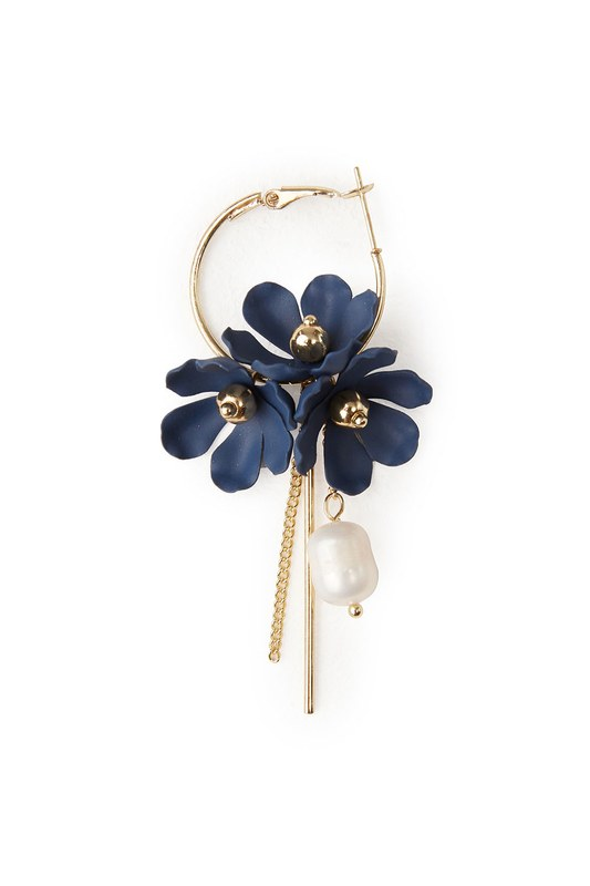 Flower Detailed Hoop Earrings (Navy Blue)