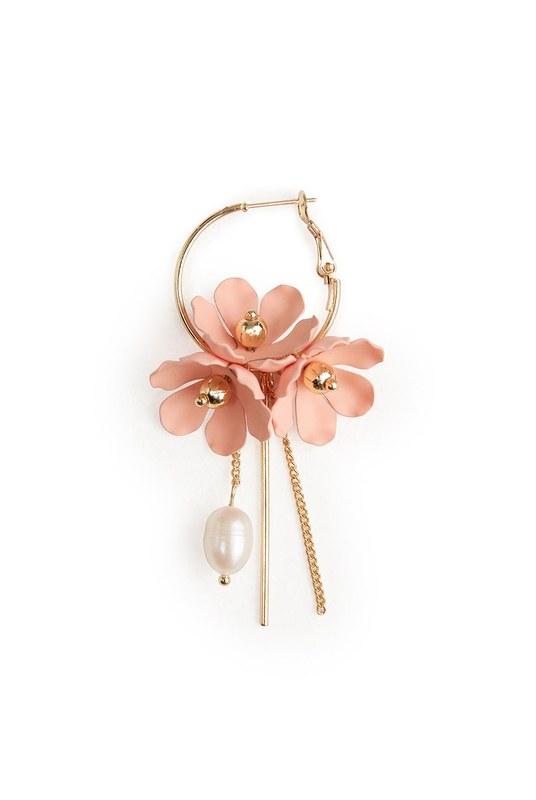 Flower Detailed Hoop Earrings (Pink)