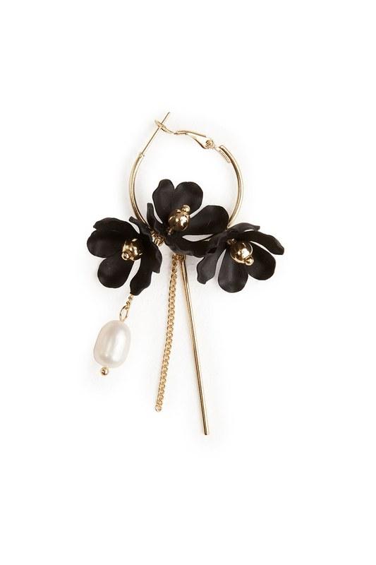 Çiçek Detaylı Halka Küpe (Siyah)