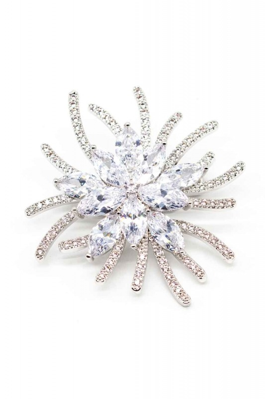 Flower Shaped Zircon Brooch
