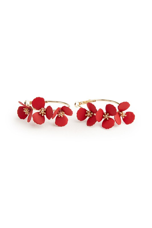 Flower Ring Shaped Earrings (Red)