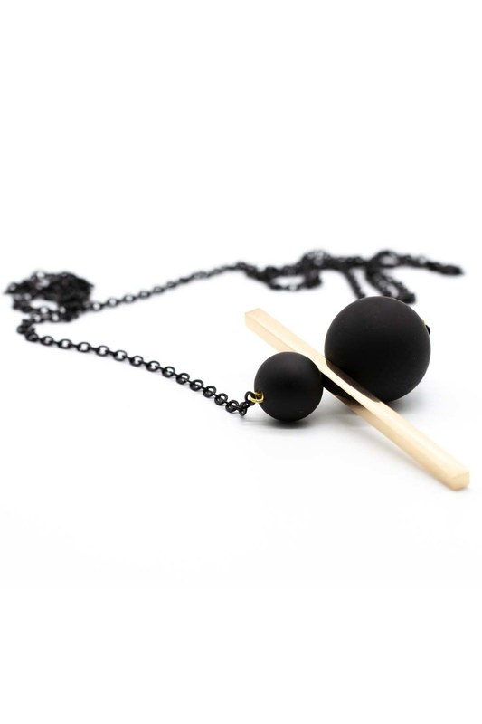 Coupled Metal Beaded Necklace (Gold)