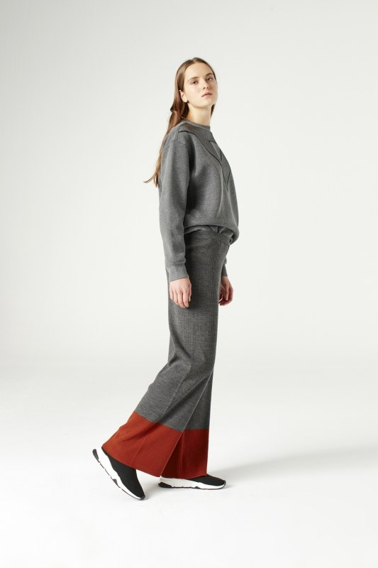 Çift Renk Triko Pantolon (Gri)