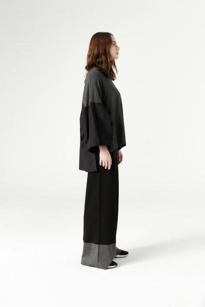 Çift Renk Triko Pantolon (Siyah)