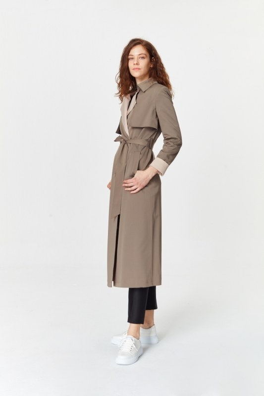 Double Colored Gabardine Trenchcoat (Anthracite)