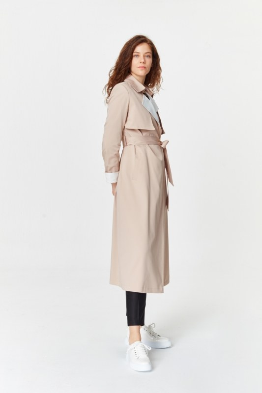 Double Colored Gabardine Trenchcoat (Beige)