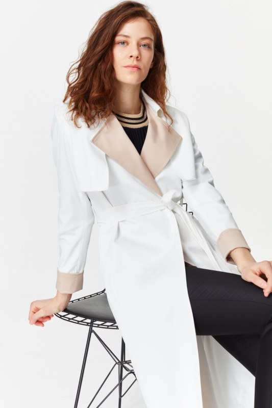 Double Colored Gabardine Trenchcoat (White)