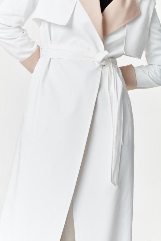 Çift Renkli Gabardin Trençkot (Beyaz)