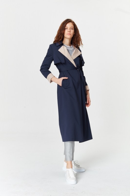 Double Colored Gabardine Trenchcoat (Navy Blue)