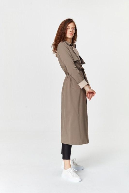 معطف الخندق اللون المزدوج الجبردين (لون المنك)