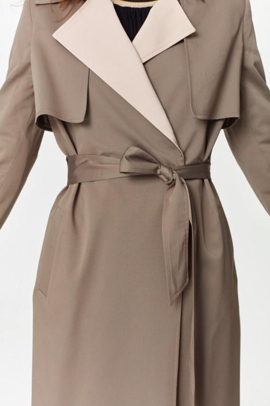 Double Colored Gabardine Trenchcoat (Mink)