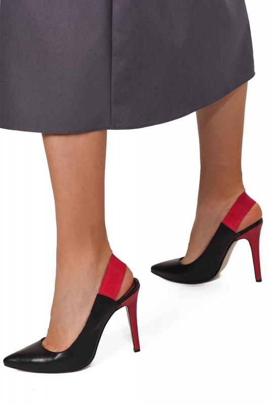 Çift Renkli Topuklu Ayakkabı (Siyah)