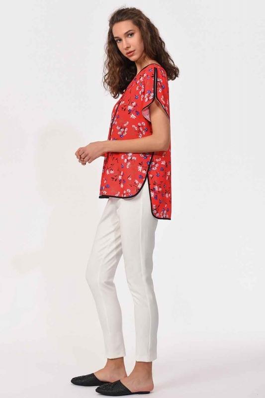 Çizgi Biyeli Bluz (Kırmızı)