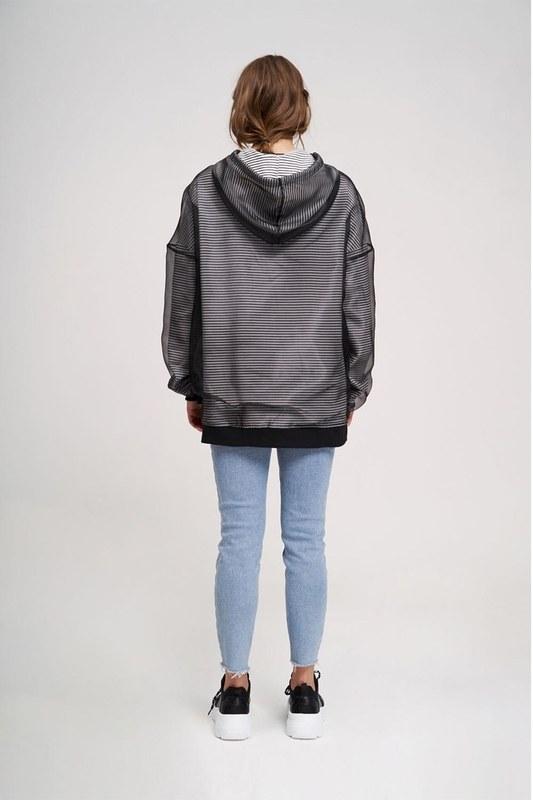 Çizgi Organze Sweatshirt (Siyah)