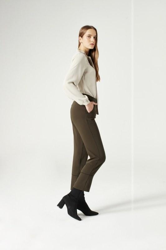 Striped Leg Trousers (Khaki)