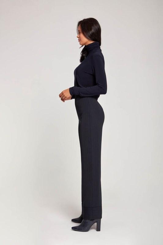 Striped Wide Leg Trousers (Navy Blue)