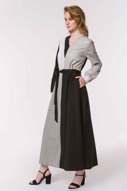 Çizgili Çok Parçalı Elbise (Siyah)