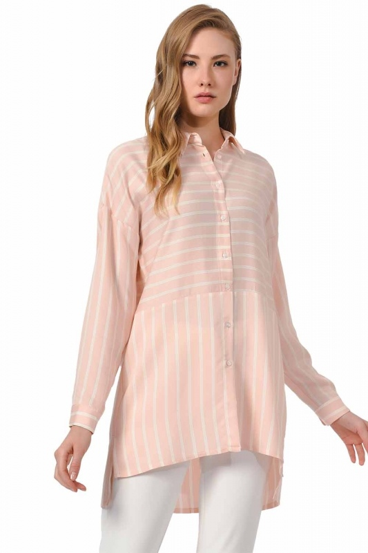 Çizgili Gömlek Bluz (Pembe)