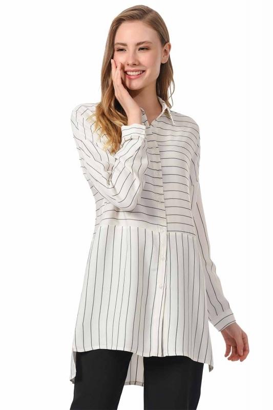 Striped Shirt Blouse (Black)