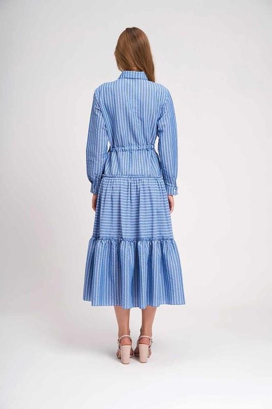 Çizgili Kat Kat Maxi Elbise (İndigo)