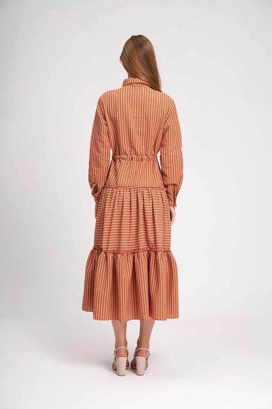 Çizgili Kat Kat Maxi Elbise (Kiremit)