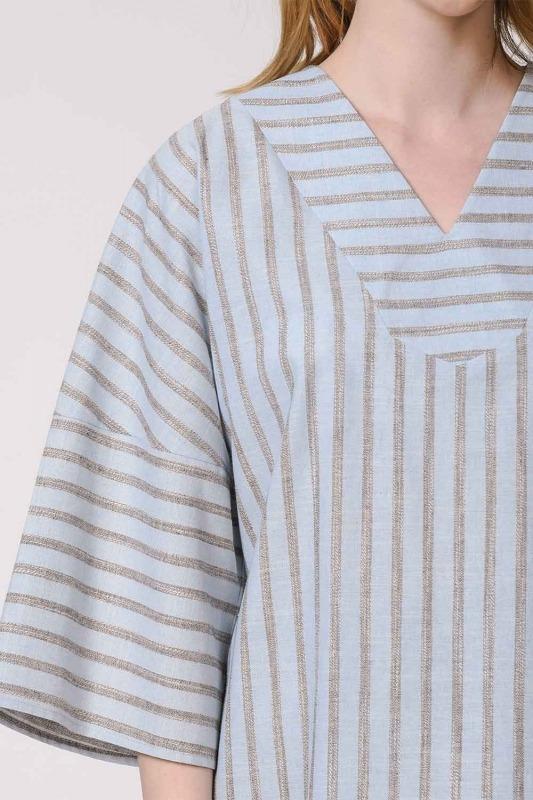 Çizgili Keten Dokulu Bluz (Açık Mavi)