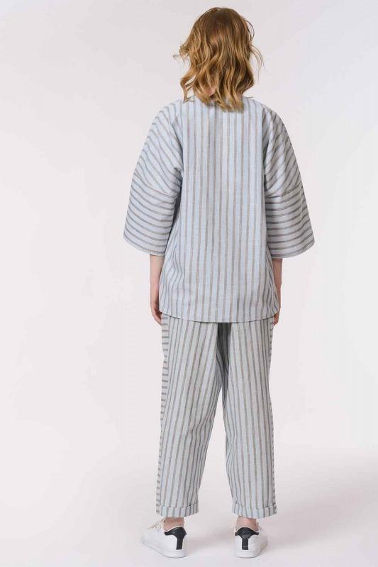 Striped Linen Textured Blouse (Light Blue)