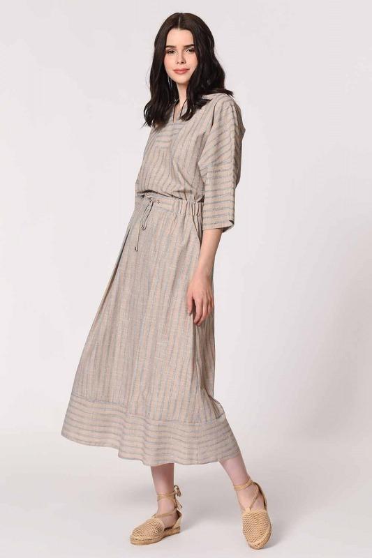 Striped Linen Textured Blouse (Beige)