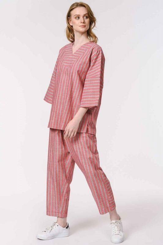 Striped Linen Textured Blouse (Orange-Red)