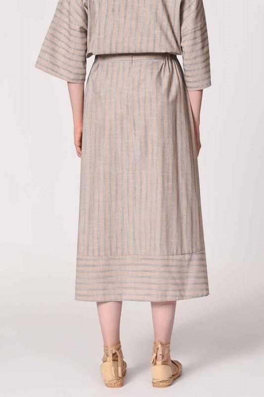 Striped Linen Textured Skirt (Beige)