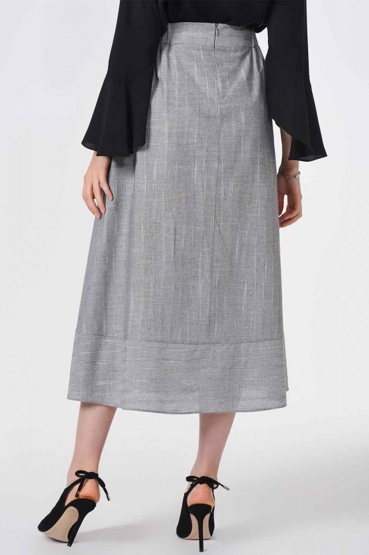 Striped Linen Textured Skirt (Grey)