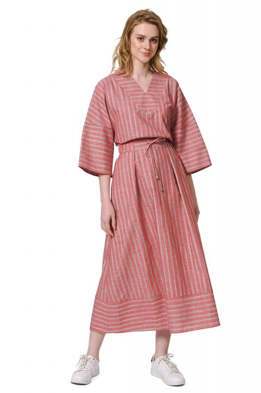Striped Linen Textured Skirt (Red)