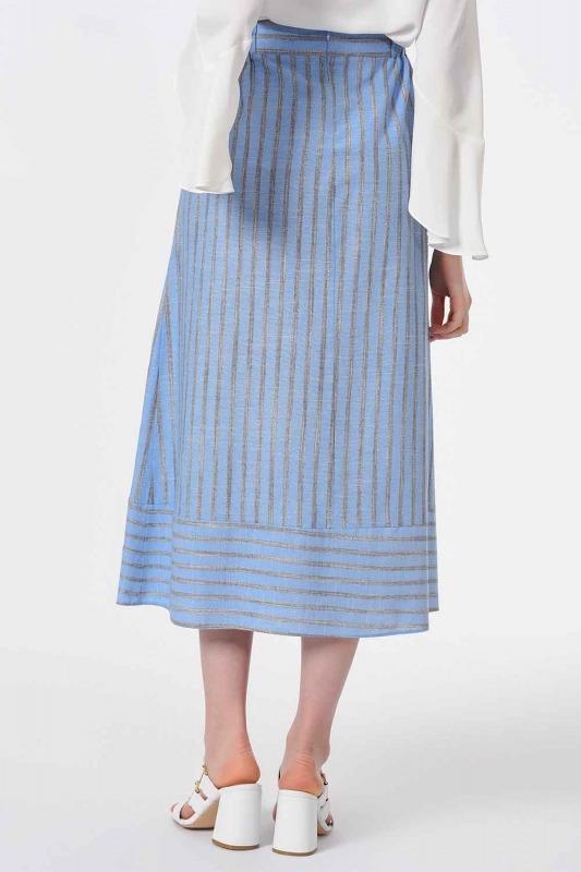 تنورة مخططة مع نسيج الكتان (الأزرق)
