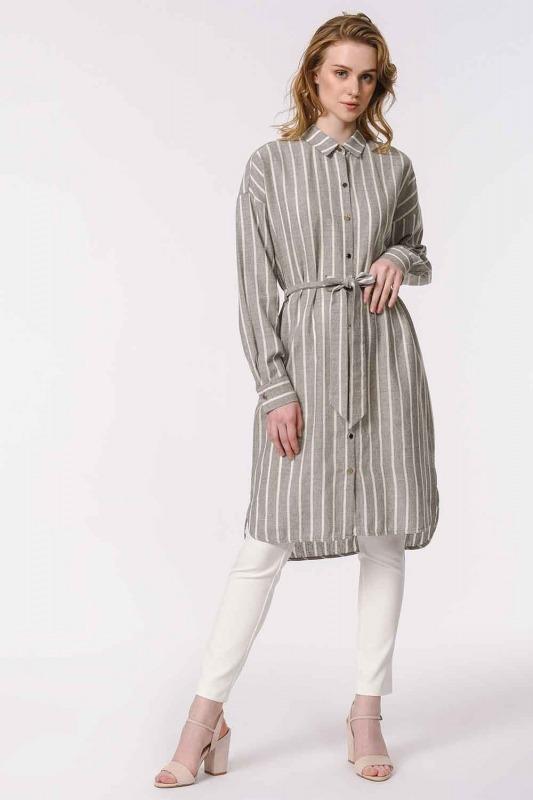 فستان مخطط من الكتان (غَامِق)