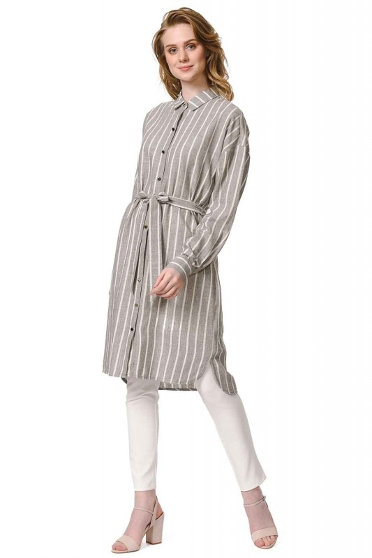 Striped Linen Look Dress (Anthracite)